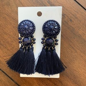 NWT. H&M statement earrings with tassel & stones